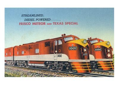 Texas - View of the Frisco Meteor and Texas Special Trains by Lantern Press