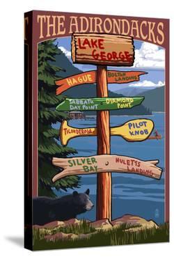 The Adirondacks - Lake George, New York - Sign Destinations by Lantern Press