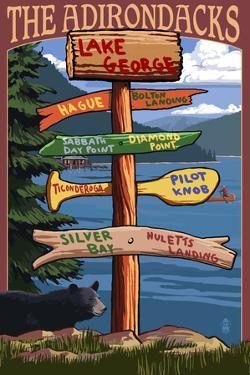 The Adirondacks - Lake George, New York - Sign Destinations by Lantern Press