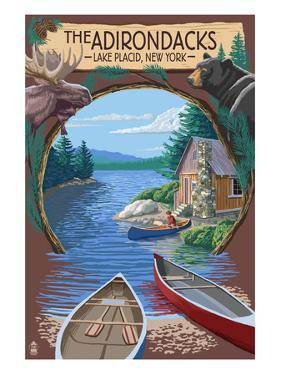The Adirondacks - Lake Placid, New York State - Montage by Lantern Press