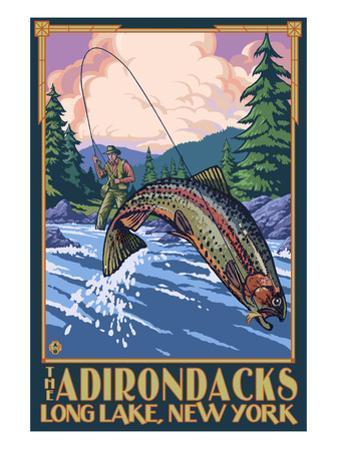 The Adirondacks - Long Lake, New York State - Fly Fishing by Lantern Press