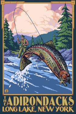 The Adirondacks - Long Lake, New York State - Fly Fishing by Lantern Press