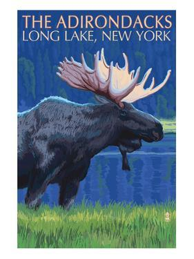 The Adirondacks - Long Lake, New York State - Moose at Night by Lantern Press