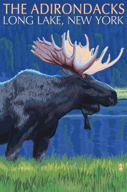 The Adirondacks - Long Lake, New York State - Moose at Night by Lantern Press