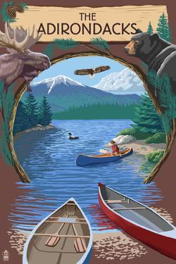 The Adirondacks, New York - Canoe Scene by Lantern Press