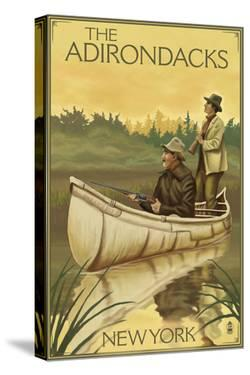 The Adirondacks, New York - Hunters in Canoe by Lantern Press