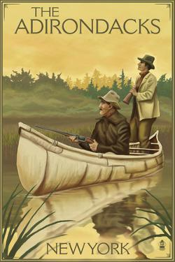 The Adirondacks, New York - Hunters in Canoe by Lantern Press