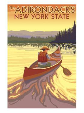 The Adirondacks, New York State - Canoe Scene by Lantern Press