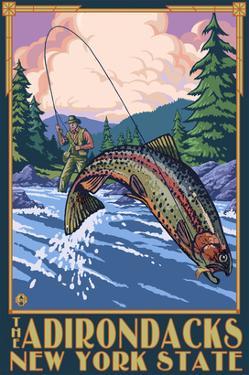 The Adirondacks, New York State - Fly Fisherman by Lantern Press