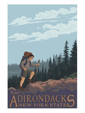 The Adirondacks, New York State - Hiking Scene by Lantern Press