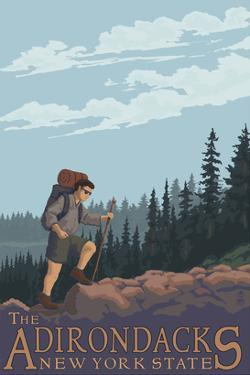 The Adirondacks, New York State - Hiking Scene by Lantern Press