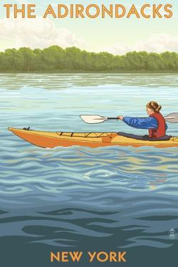 The Adirondacks, New York State - Kayak Scene by Lantern Press