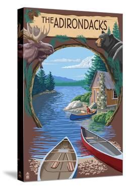 The Adirondacks, New York State - Lake Montage Scene by Lantern Press