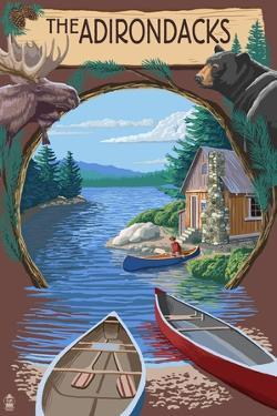 The Adirondacks, New York State - Lake Montage Scene by Lantern Press