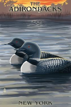 The Adirondacks, New York State - Loons at Sunset by Lantern Press