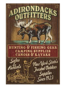 The Adirondacks, New York State - Outfitters Moose by Lantern Press