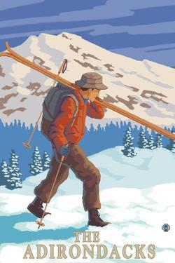 The Adirondacks, New York State - Skier Carrying Skis by Lantern Press