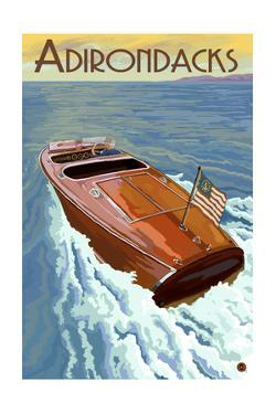 The Adirondacks - Wooden Boat on Lake by Lantern Press
