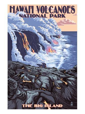 The Big Island, Hawaii - Lava Flow Scene by Lantern Press
