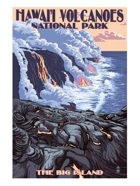 The Big Island, Hawaii - Lava Flow Scene by Lantern Press