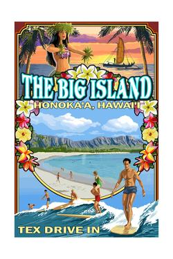 The Big Island - Honoka'a, Hawai'i - Montage by Lantern Press
