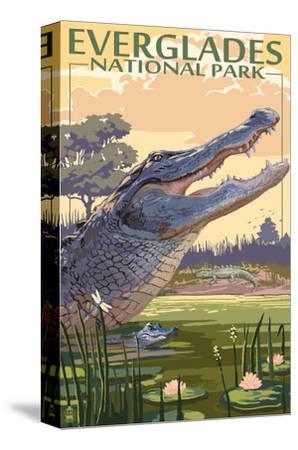 The Everglades National Park, Florida - Alligator Scene by Lantern Press