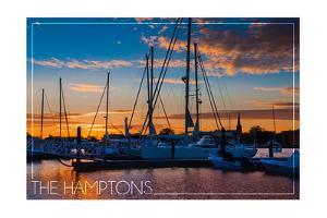 The Hamptons, New York - Boats at Sunset by Lantern Press