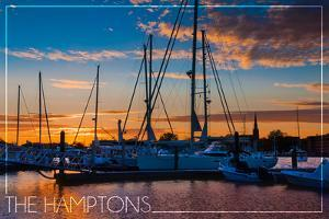 The Hamptons, New York - Boats at Sunset by Lantern Press