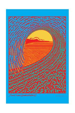 The Next Wave - Red and Blue - John Van Hamersveld Poster Artwork by Lantern Press