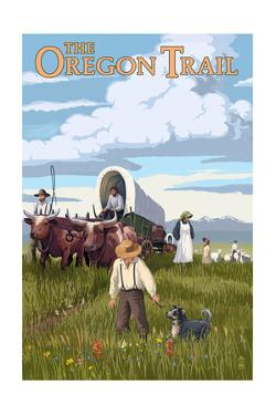 The Oregon Trail - Wagon Scene by Lantern Press