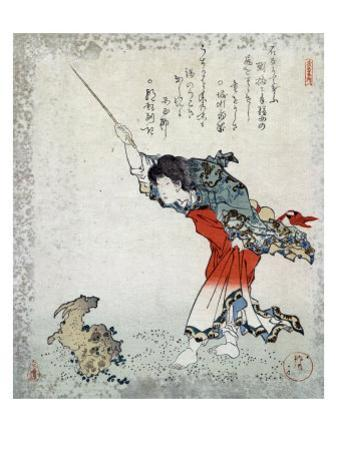 The Sage Koshohei Turning a Goat into Stone, Japanese Wood-Cut Print by Lantern Press