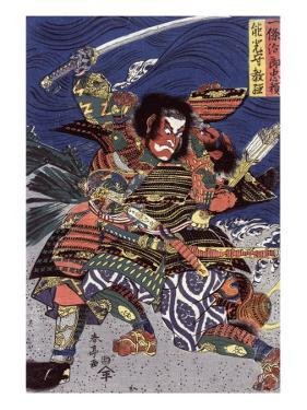 The Samurai Warriors Ichijo Jiro Tadanori and Notonokami Noritsune, Japanese Wood-Cut Print by Lantern Press
