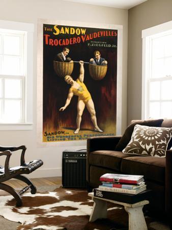 The Sandow Trocadero Vaudevilles Weightlifting Poster by Lantern Press