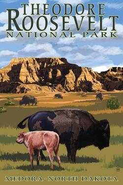 Theodore Roosevelt National Park - Medora, North Dakota - Bison and Calf by Lantern Press