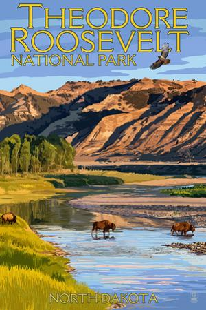 Theodore Roosevelt National Park - North Dakota - Bison Crossing River by Lantern Press