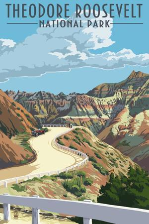 Theodore Roosevelt National Park, Nouth Dakota - Road Scene by Lantern Press