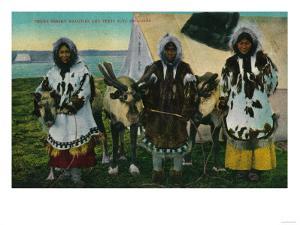 Three Eskimo Beauties and Sled Reindeer - Alaska State by Lantern Press