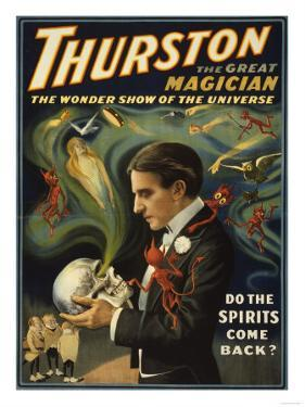 Thurston the Great Magician Holding Skull Magic Poster by Lantern Press