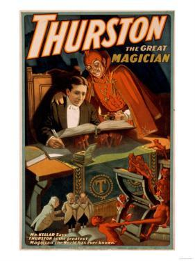 Thurston the Great Magician with Devil Magic Poster by Lantern Press