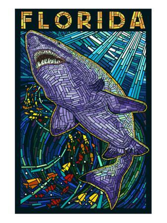 Tiger Shark Paper Mosaic - Florida by Lantern Press