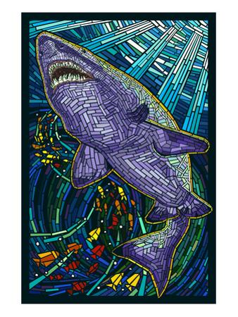 Tiger Shark Paper Mosaic by Lantern Press