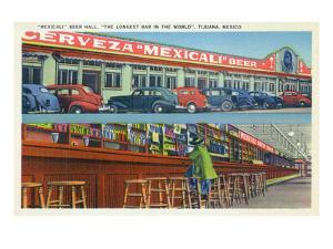 Tijuana, Mexico - Mexicali Beer Hall, Longest Bar in World by Lantern Press