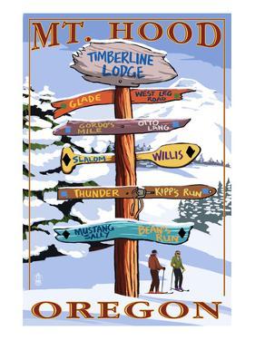 Timberline Lodge - Mt. Hood, Oregon - Winter Ski Runs Sign by Lantern Press