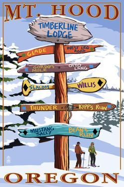 Timberline Lodge - Mt. Hood, Oregon - Winter Ski Runs Sign by Lantern Press
