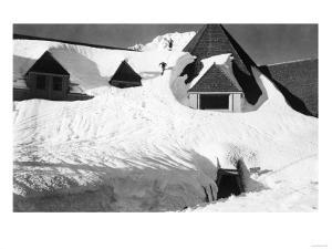Timberline Lodge Skiing off Roof Mt. Hood Photograph - Mt. Hood, OR by Lantern Press