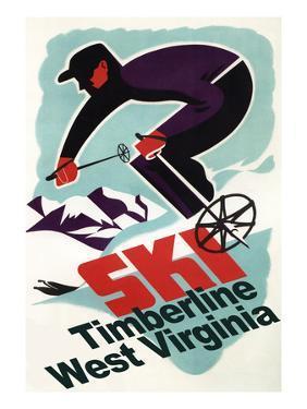 Timberline, West Virginia - Vintage Skier by Lantern Press