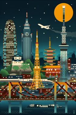 Tokyo, Japan - Retro Skyline (no text) by Lantern Press