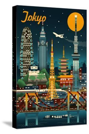Tokyo, Japan - Retro Skyline by Lantern Press