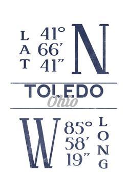 Toledo, Ohio - Latitude and Longitude (Blue) by Lantern Press