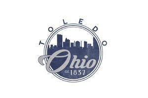 Toledo, Ohio - Skyline Seal (Blue) by Lantern Press